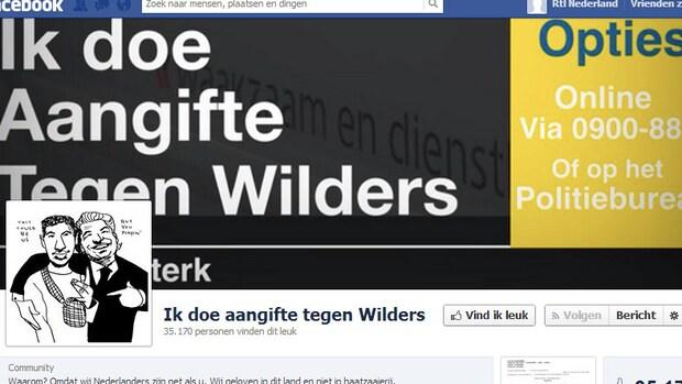 Duizenden likes voor 'Doe aangifte tegen Wilders-pagina'