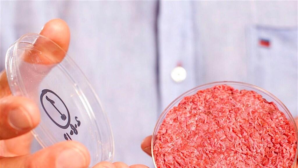 Voorbeeld van gekweekt rundvlees van het bedrijf Mosa Meat