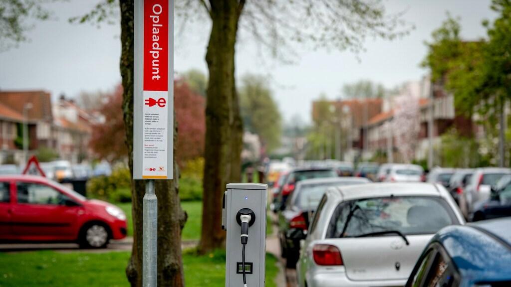 Een oplaadpunt van elektrische auto's in Utrecht.