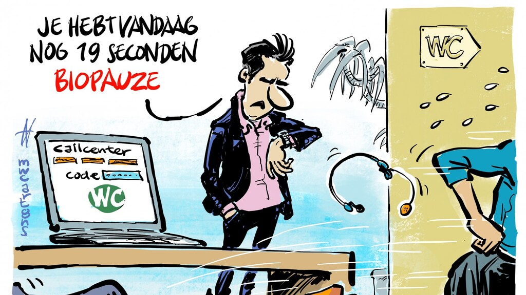 Cartoon die FNV over de plaspauze bij callcenters, de zogenoemde biopauze, liet maken.