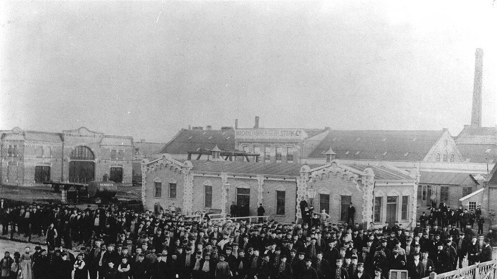 De fabriek van Stork in Hengelo in de 19e eeuw.