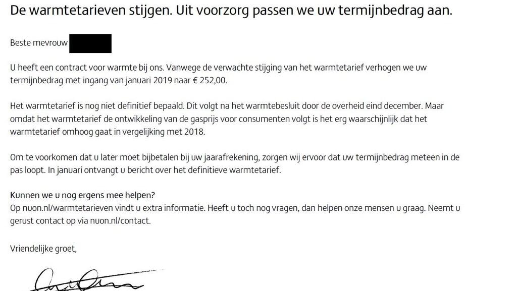 De brief die mevrouw Falaki ontving van Nuon.