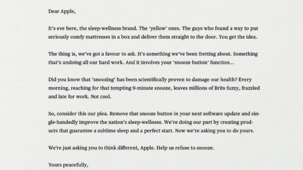 De brief van 'Eve sleep' aan Apple.