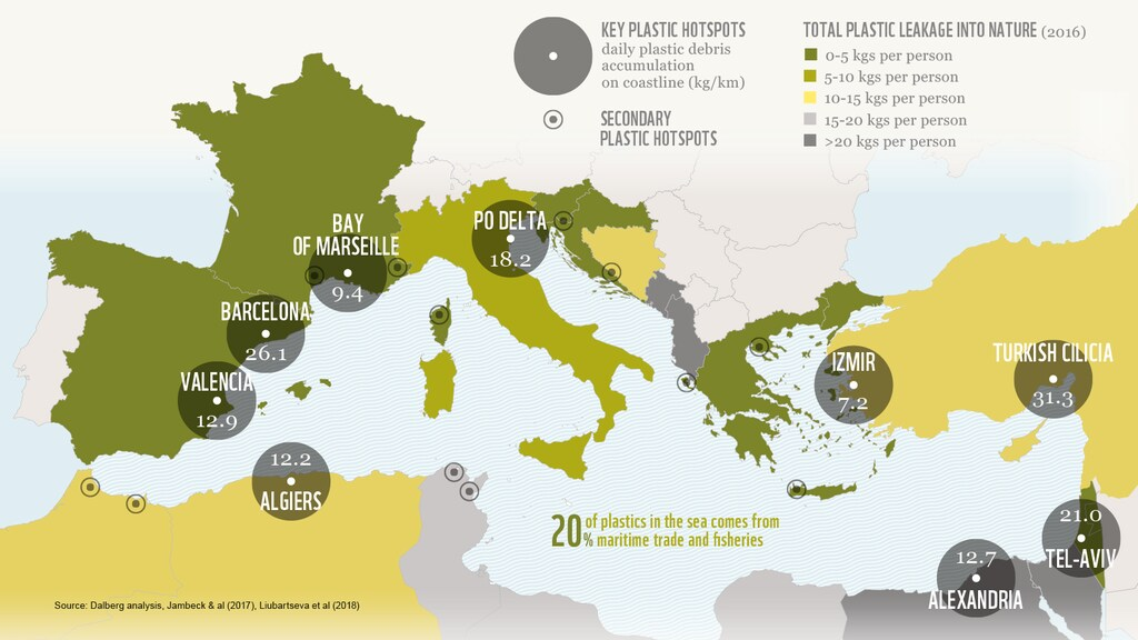 Op verschillende plekken aan de Middellandse Zee wordt flink vervuild, zo is te zien op deze kaart.