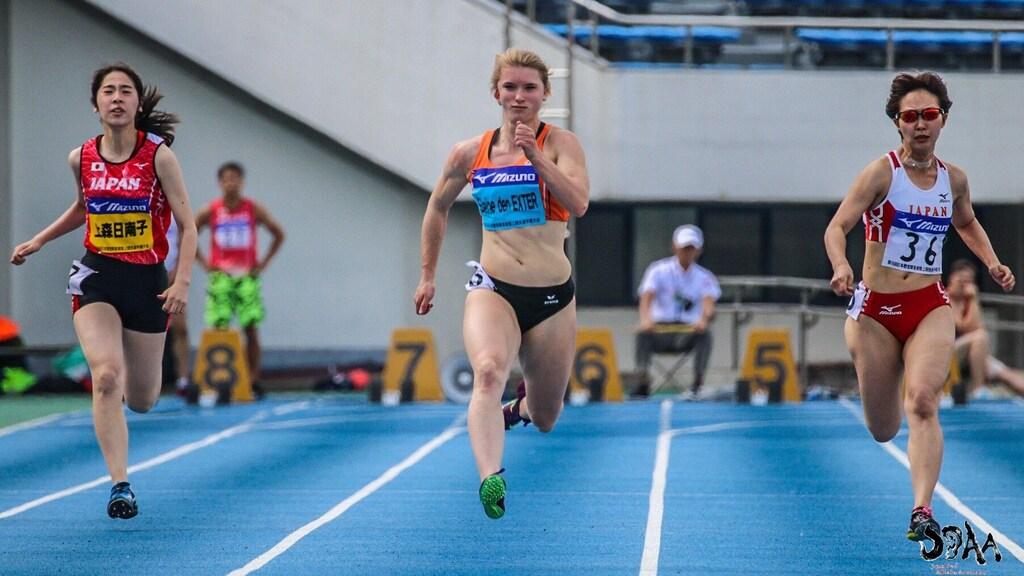 Elaine den Exter op 100m sprint voor doven in Tokio
