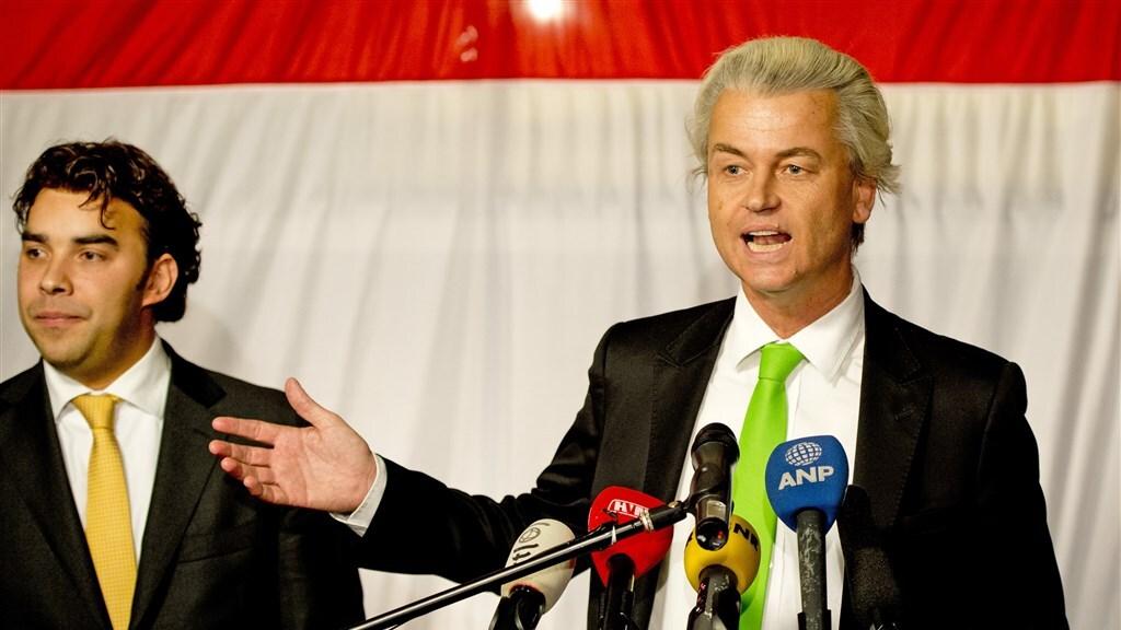 PVV-leider Wilders en Leon de Jong, toenmalig lijsttrekker voor de Haagse fractie, in 2014.