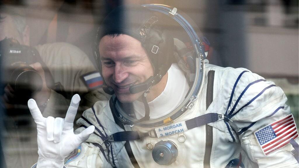 NASA astronaut Andrew R Morgan tijdens een test van zijn ruimtepak in juli 2019.