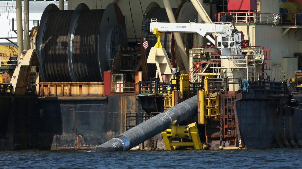 Een pijplegschip in de Oostzee.