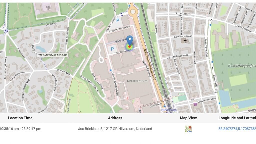 De locatie van de telefoon van het slachtoffer is ook te zien.