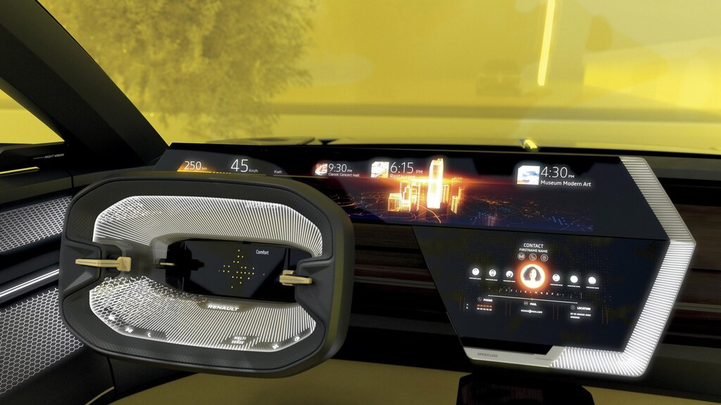 Zoveel schermen zul je straks in je auto hebben. Zo'n stuur niet.