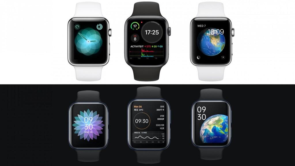 Boven: Apple Watch, onder: Oppo Watch