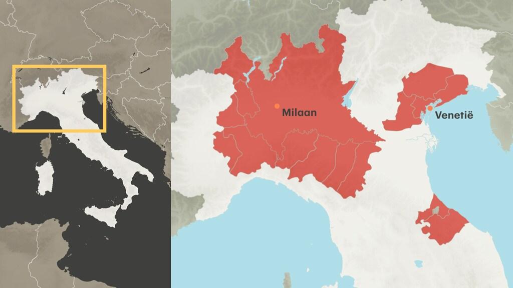 Het rode gebied met de steden Venetië en Milaan gaat in quarantaine.