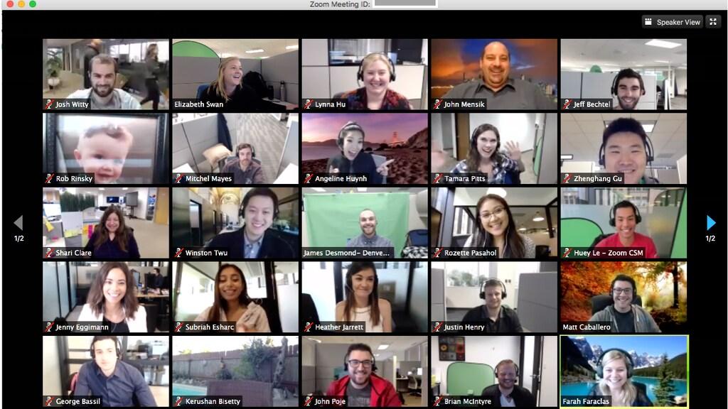 Een videoconferentie in Zoom.