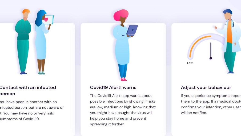 Screenshot van de Covid-19 Alert-app.