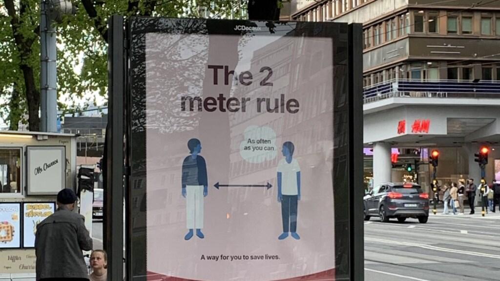 In Zweden wordt geadviseerd twee meter afstand te houden.