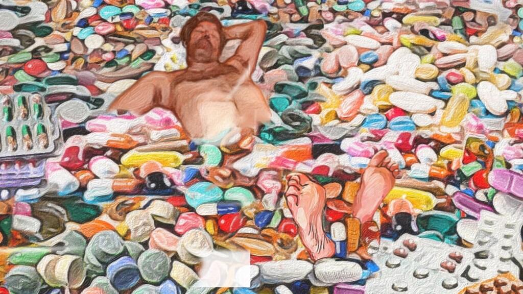 De tekening van Bastiaan in zijn 'pillenbad'.
