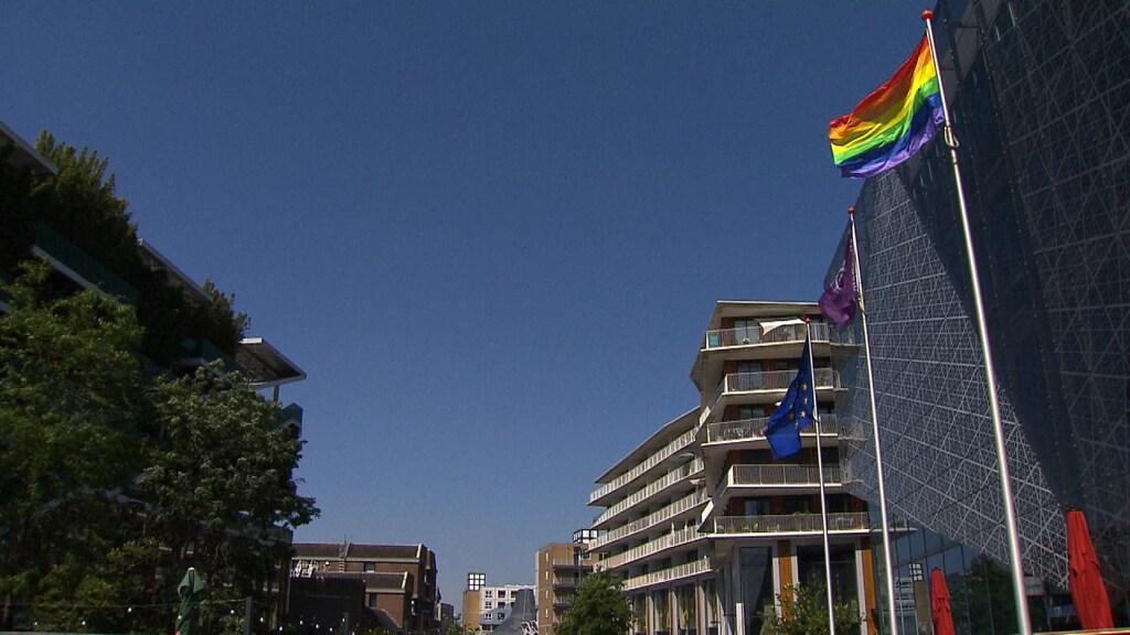 De regenboogvlag bij het gemeentehuis in Nieuwegein.