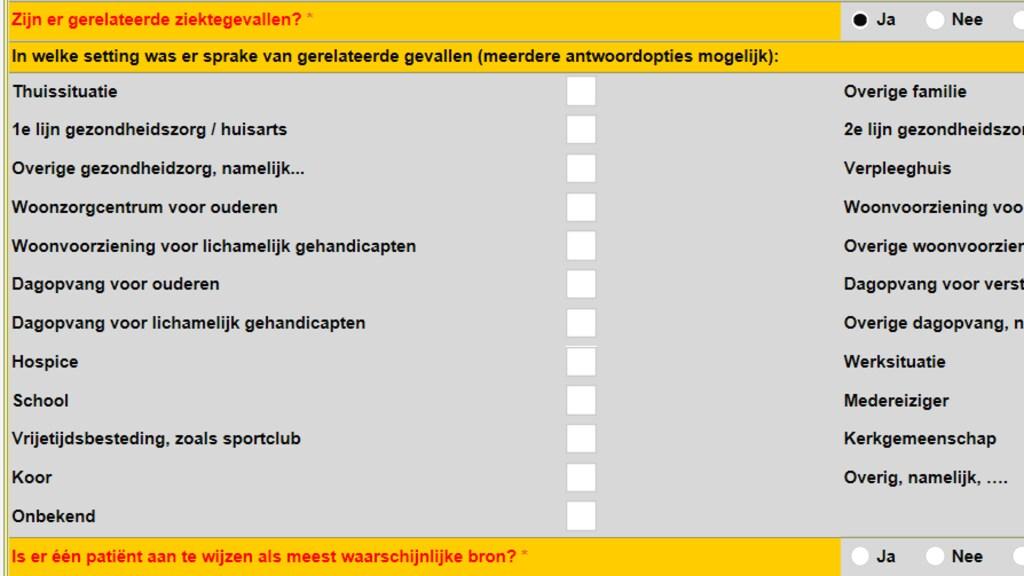 In dit formulier kan de GGD de situatie van een besmetting invullen.