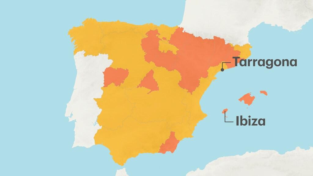 Kaart bij reisadvies Spanje