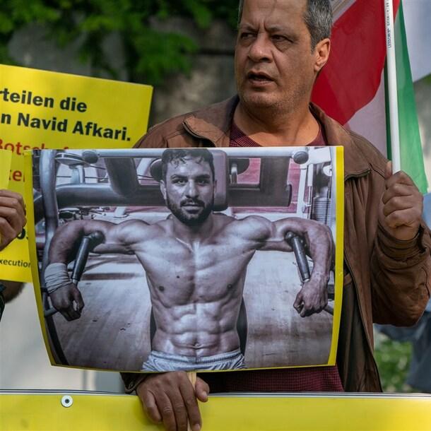 Een demonstratie in Berlijn tegen de terdoodveroordeling van Afkari.