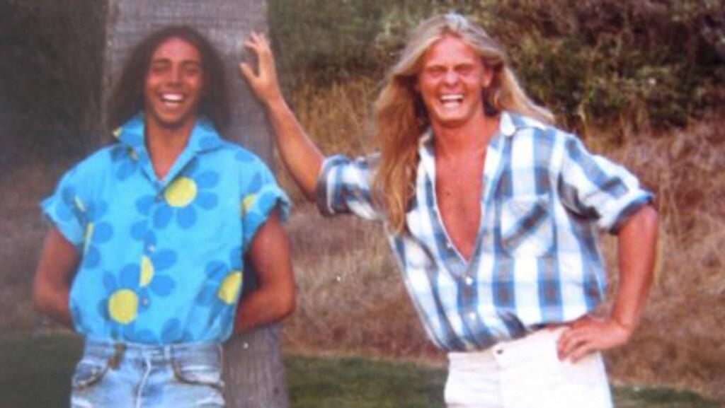 Joakim Malm (rechts) als surfer in Californië, in de jaren tachtig.