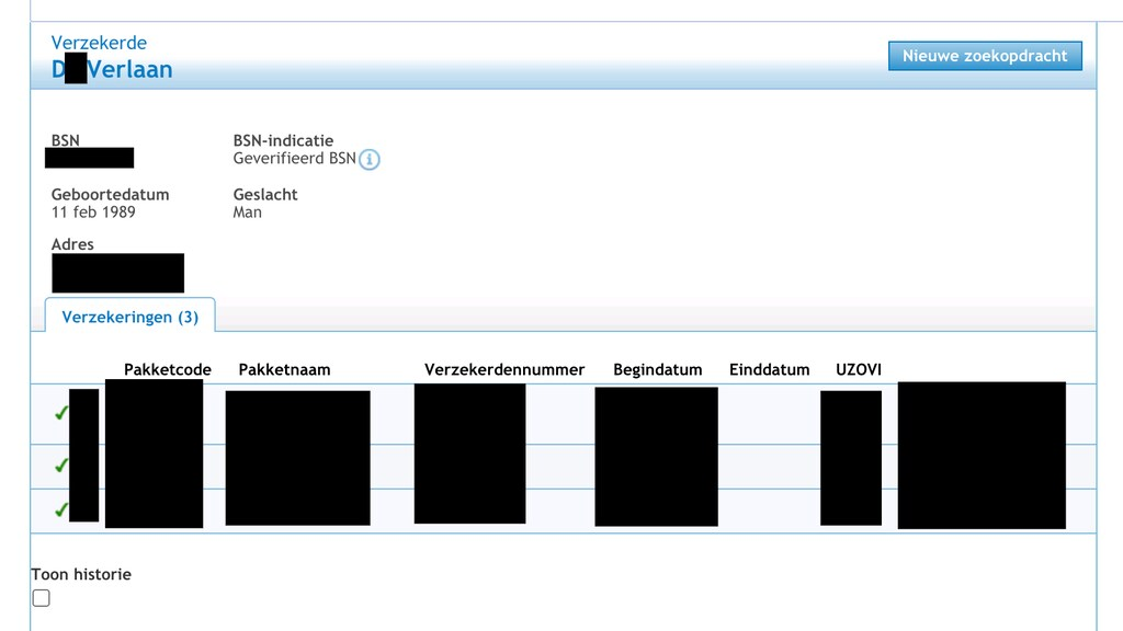 Dit krijg je te zien als je iemand in de database opzoekt.