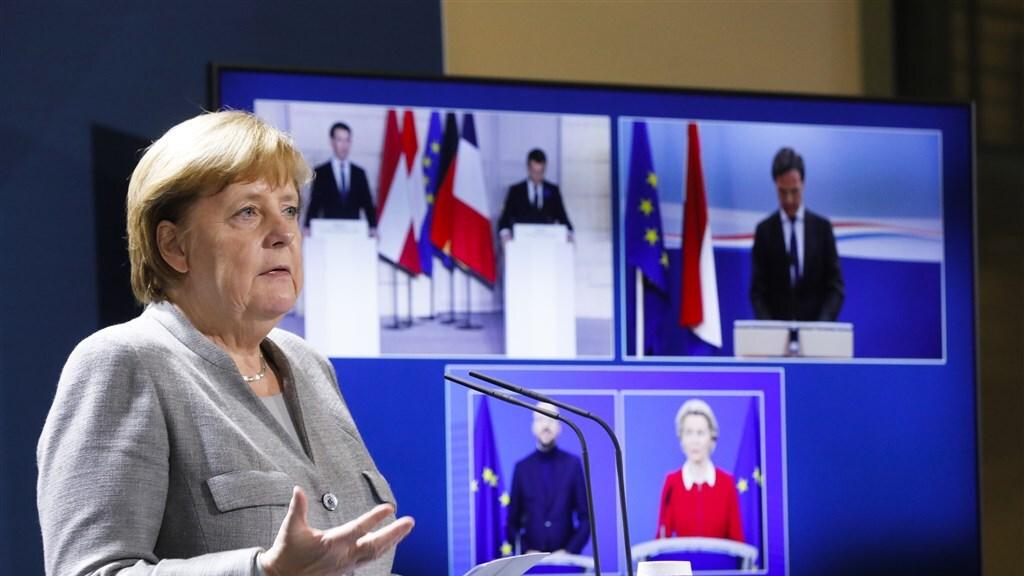 De Europese leiders spreken elkaar via een videoverbinding.