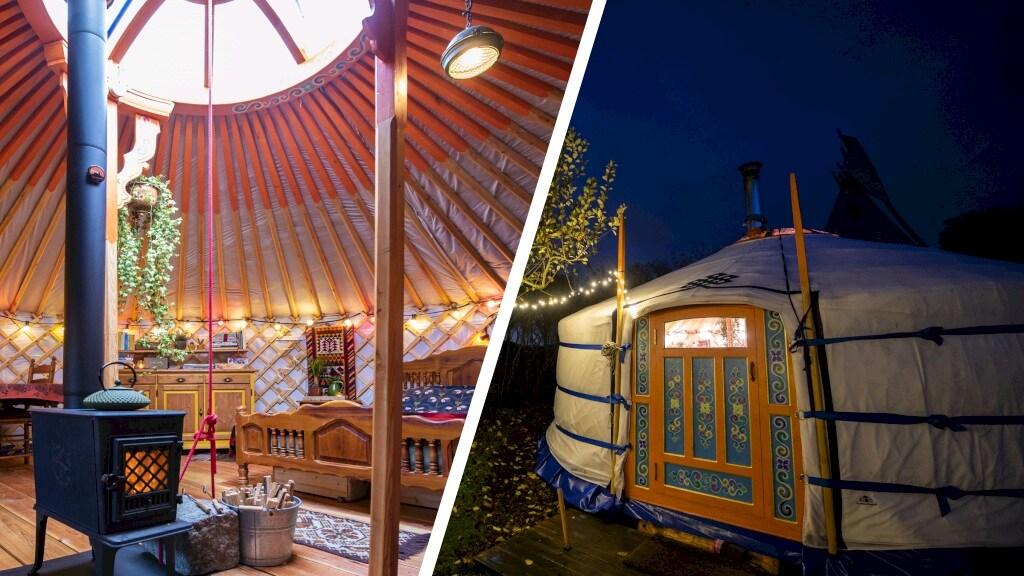 De yurt van Chris en Rick van binnen en van buiten