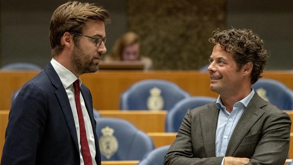 Kamerleden Sjoerd Sjoerdsma (D66) en Jeroen van Wijngaarden (VVD).