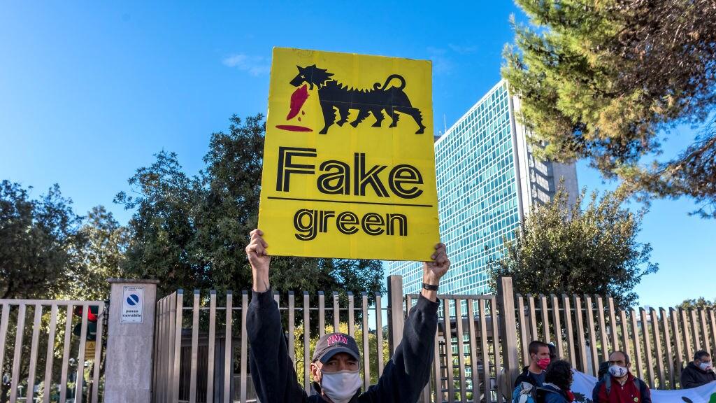 Protest dit najaar bij het Italiaanse energiebedrijf Eni.