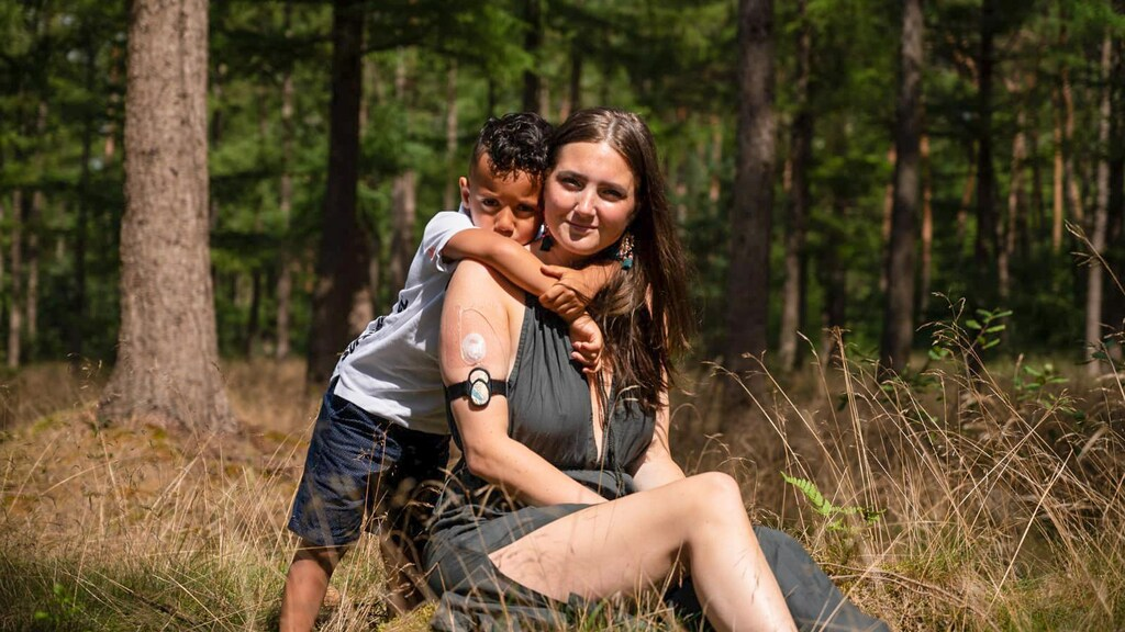 Stéphanie met haar zoontje.
