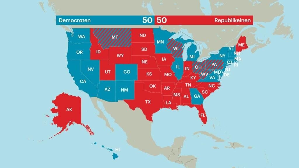 De verdeling van de Senaatszetels in de Verenigde Staten na de winst van de Democraten in Georgia.