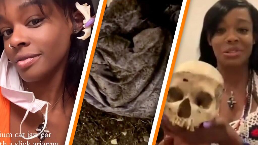 Azealia Banks met de kaak van haar kat (L), hoe ze haar kat opgroef (M) en met haar kinderschedel (R)