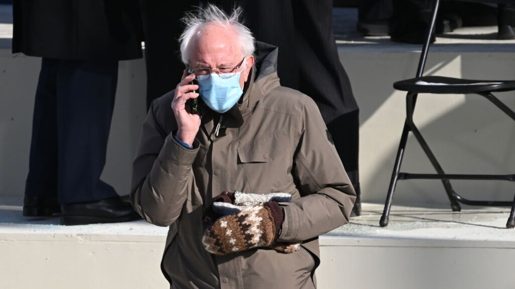 Bernie Sanders tijdens de inauguratie van Joe Biden. Hij was erg populair onder jongeren.