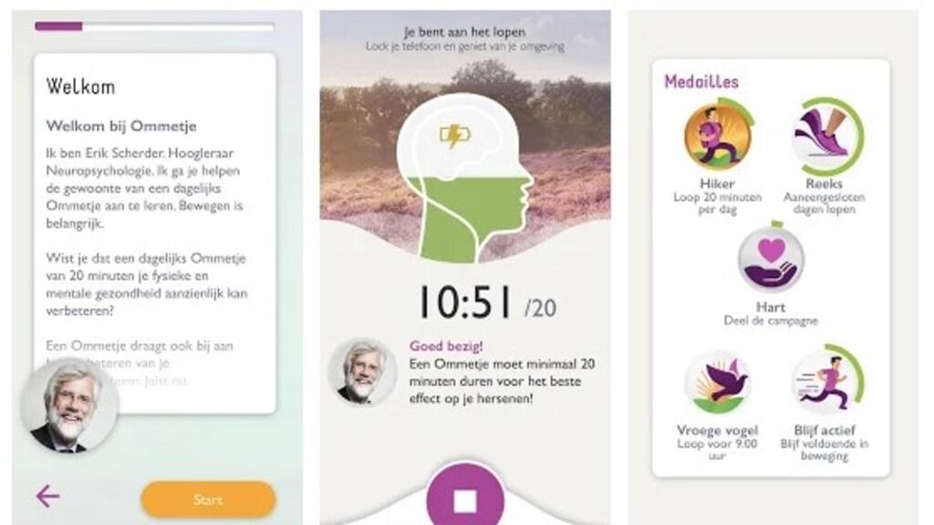 In de app word je beloond voor wandelingetjes.