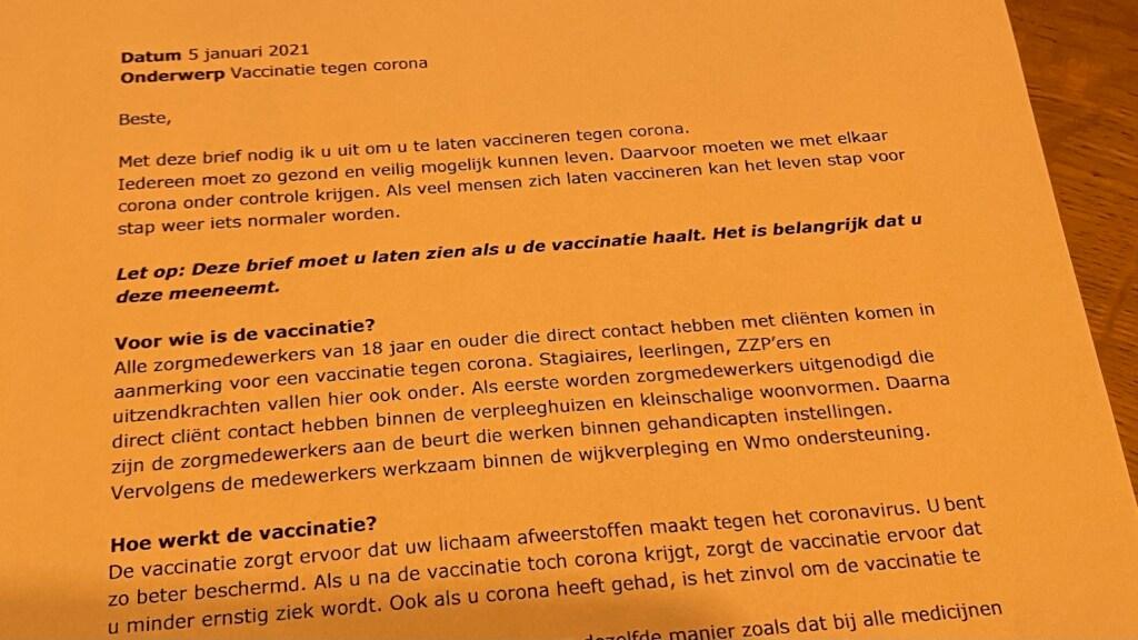 Veel verpleeghuismedewerkers kregen een brief met deze strekking