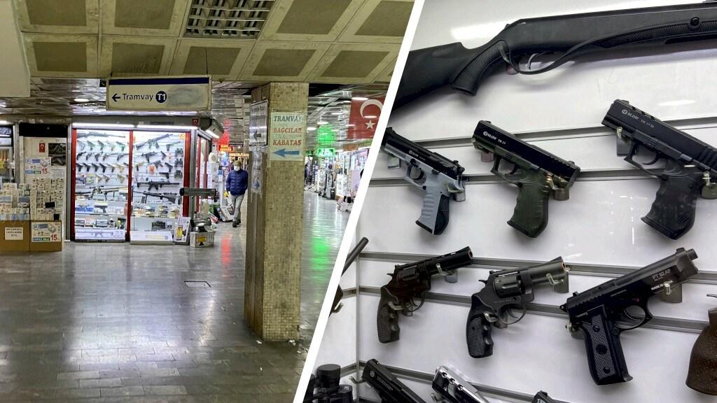 In Turkije worden de alarmpistolen overal verkocht.
