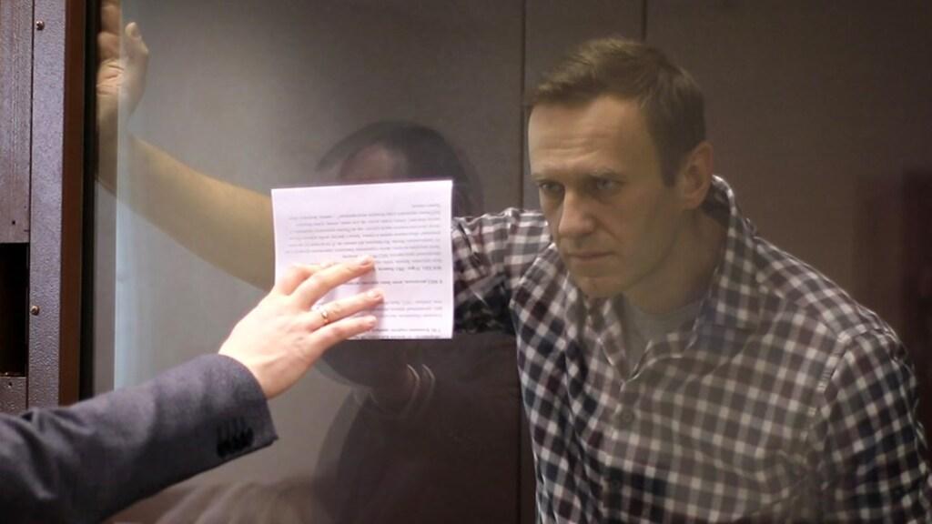 Navalny in de rechtbank van Moskou.