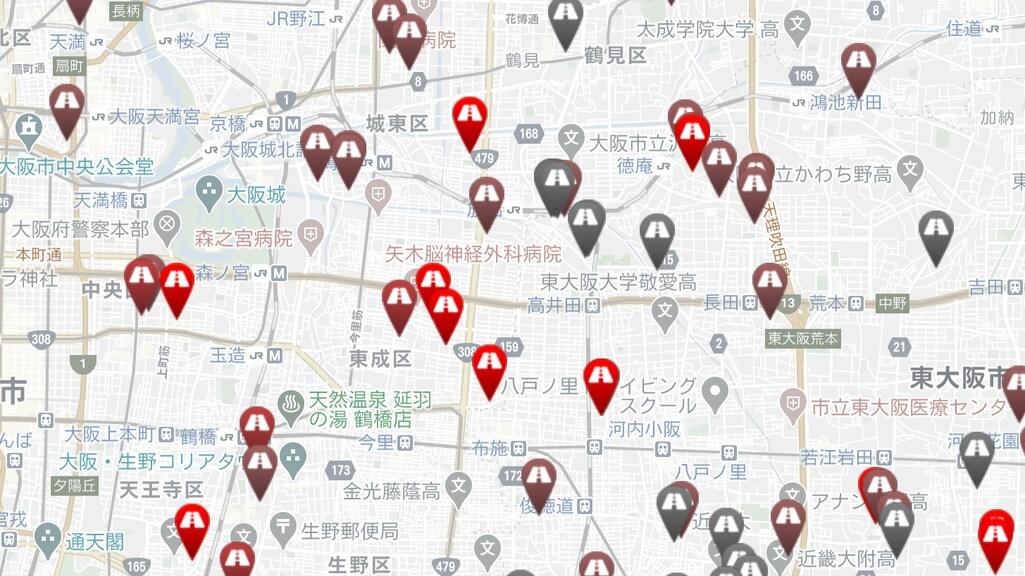 Schermafbeelding van een buurt op de 'Dorozoku-kaart'.