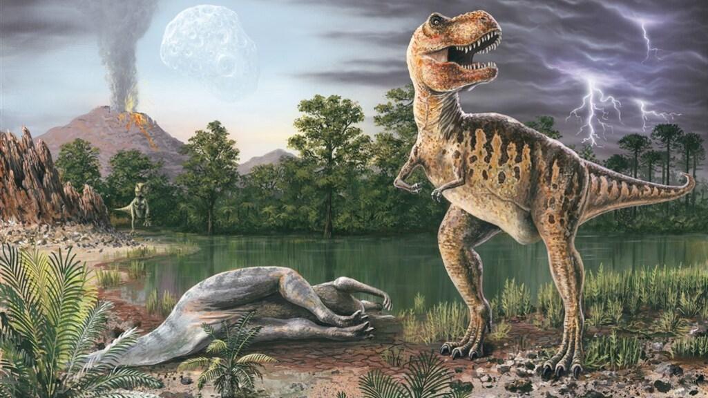 Een tyrannosaurus-rex bij een dode hadrosauriër.