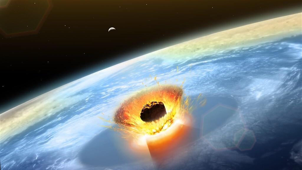 Illustratie van de inslag van de meteoriet, die ervoor zorgde dat biljoenen tonnen stof in de atmosfeer terecht kwam.