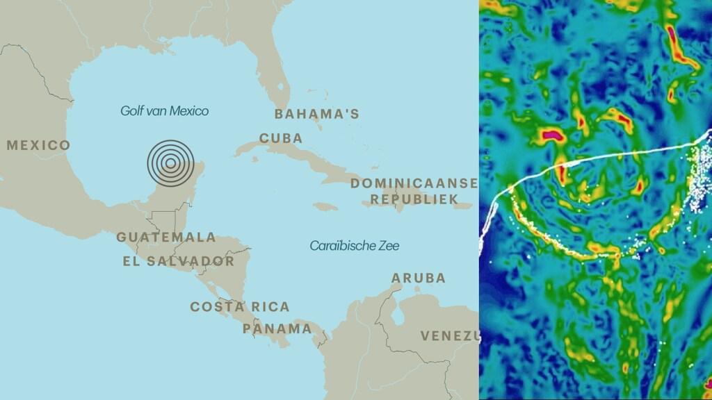 De Chicxulub-krater bij het Mexicaanse schiereiland Yucatán. Rechts de ringvormige afwijkingen van het zwaartekrachtveld in Mexico. In de binnenste ring is geboord.