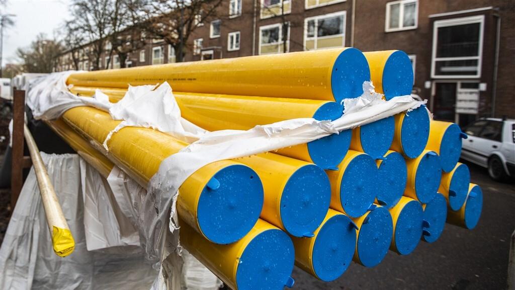 Aanleg van gasleidingen. Die leidingen zijn in Nederland ook geschikt voor waterstof.
