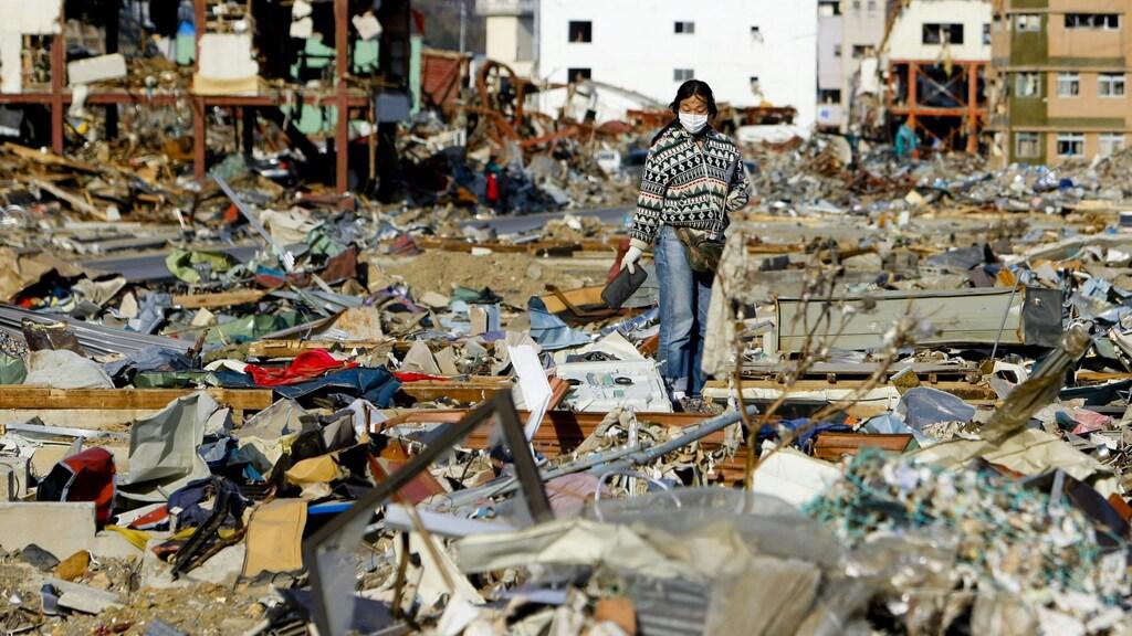Ravage in stad Onagawa na tsunami in 2011.