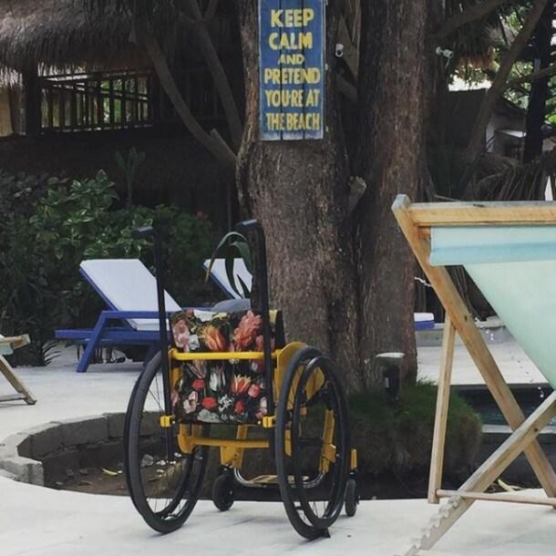 """""""Mijn zelf samengestelde rolstoel ging mee naar Bali."""""""