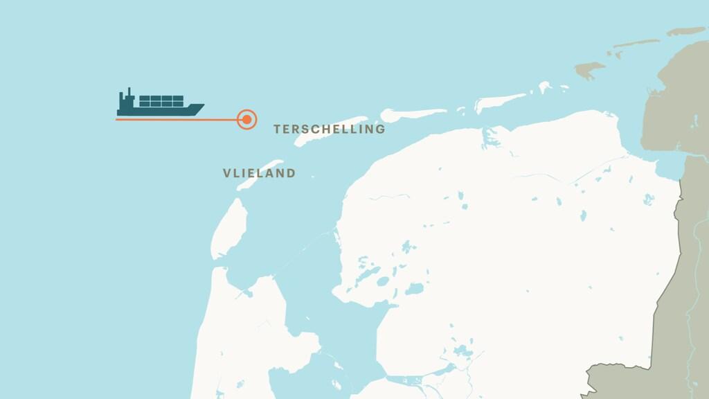 Het schip ligt bij Vlieland en Terschelling in de buurt.