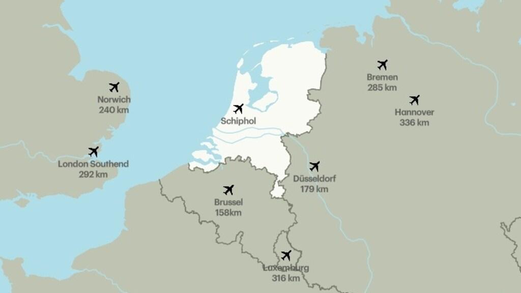 De acht vliegvelden binnen Europa met de minste aantal vliegkilometers vanaf Schiphol
