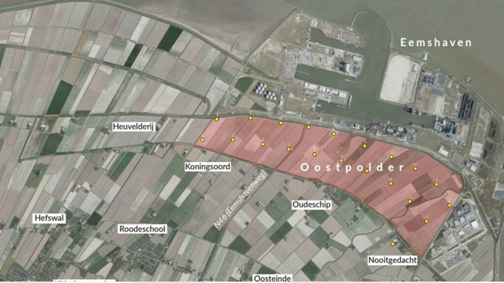 Het geplande uitbreidingsgebied maakt de Eemshaven anderhalf keer zo groot.