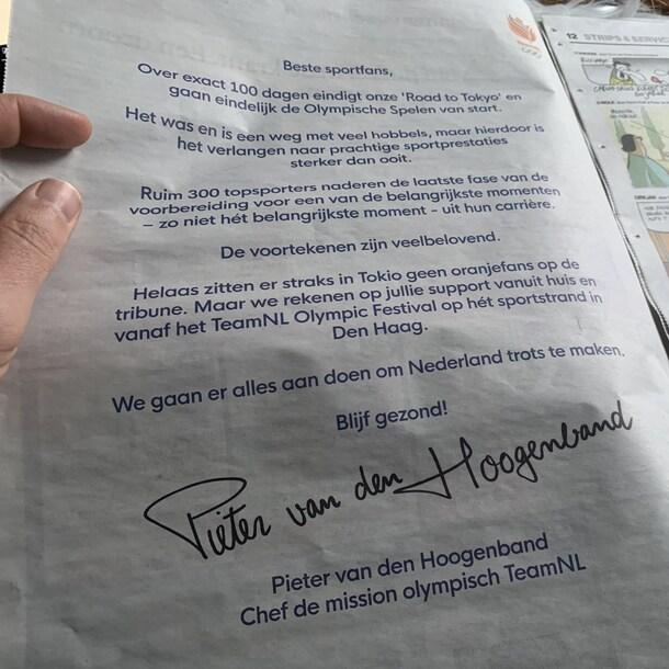Advertentie van Team NL vanochtend in de krant