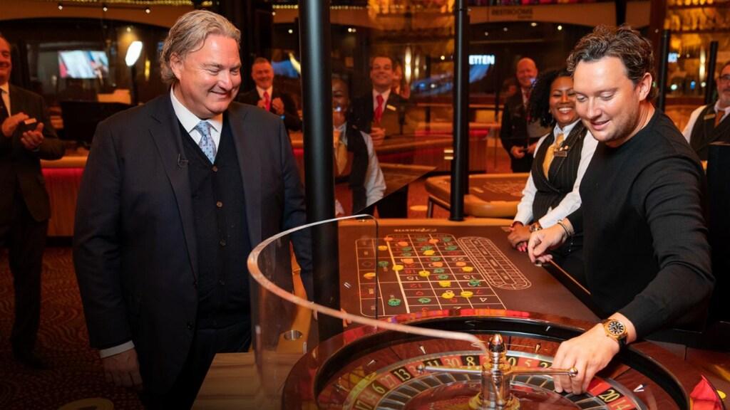 Van Lambaart bij de heropening van Holland Casino in juli 2020.